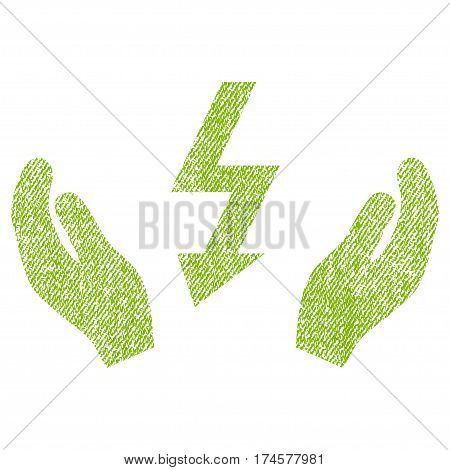 Electrical Power Maintenance Hands vector textured icon for overlay watermark stamps. Fabric light green vectorized texture. Symbol with scratched design.