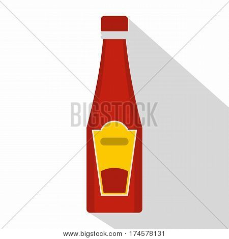 Traditional tomato ketchup bottle icon. Flat illustration of traditional tomato ketchup bottle vector icon for web isolated on white background