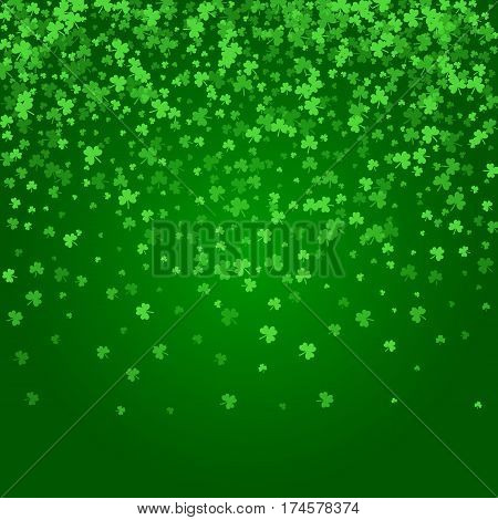 Square Saint Patricks Day background with raining green clover confetti. Falling shamrock leaves. Template for greeting card design, banner, flyer, party invitation.
