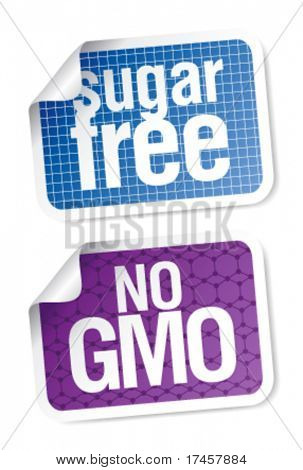 Set of labels for sugar free and bio food.