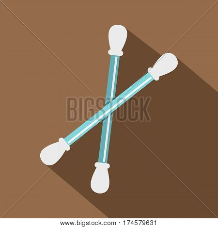 Blue plastic cotton swabs icon. Flat illustration of blue plastic cotton swabs vector icon for web isolated on coffee background