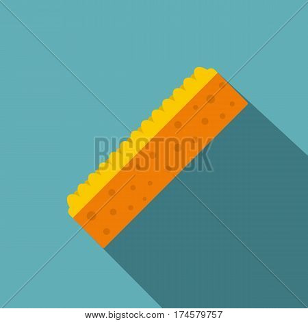 Orange sponge for cleaning icon. Flat illustration of orange sponge for cleaning vector icon for web isolated on baby blue background
