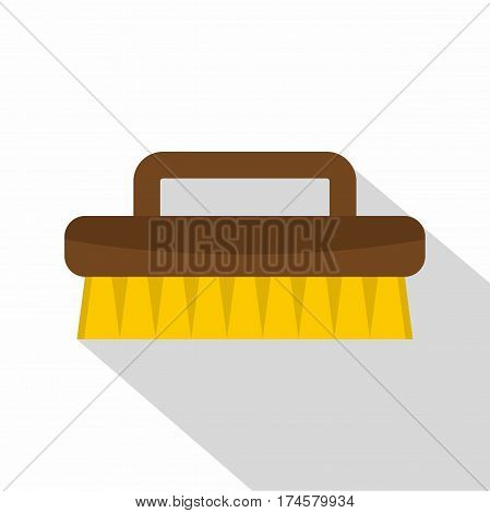Wooden scrub brush icon. Flat illustration of wooden scrub brush vector icon for web isolated on white background