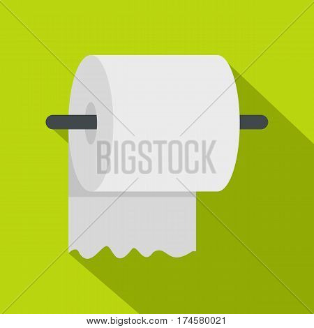 White roll of toilet paper on a holder icon. Flat illustration of white roll of toilet paper on a holder vector icon for web isolated on lime background