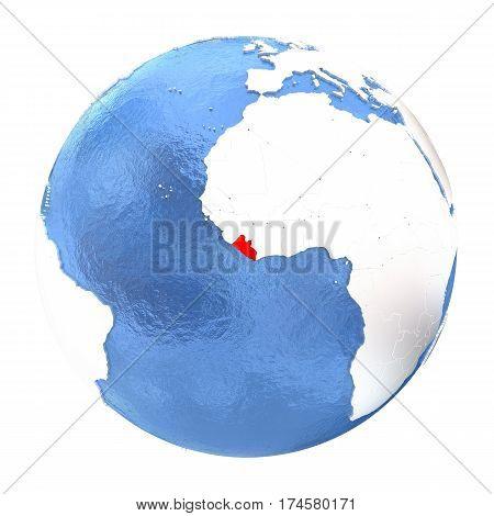 Liberia On Globe Isolated On White