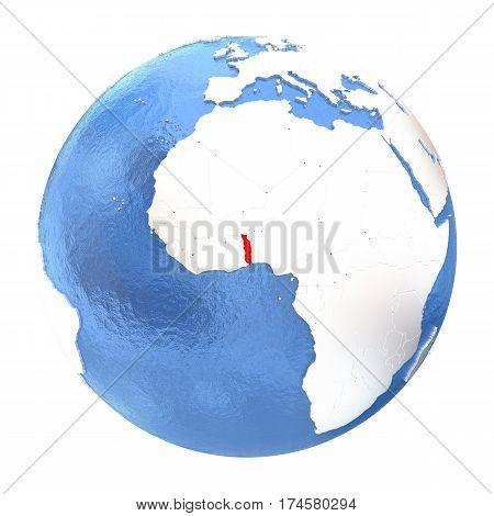 Togo On Globe Isolated On White