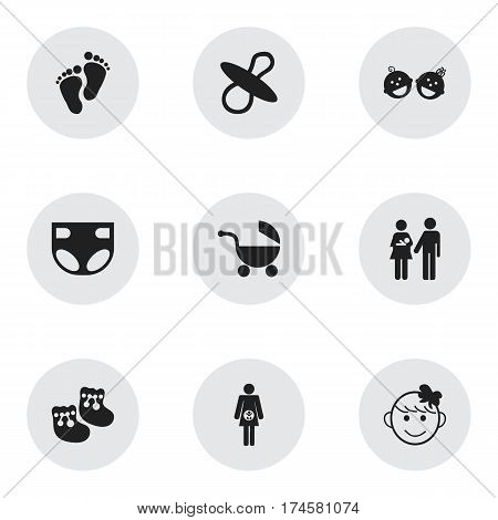 Set Of 9 Editable  Icons. Includes Symbols Such As Cheerful Child, Footmark, Pregnancy And More. Can Be Used For Web, Mobile, UI And Infographic Design.