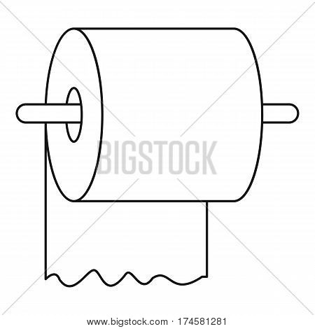 Toilet paper on holder icon. Outline illustration of toilet paper on holder vector icon for web