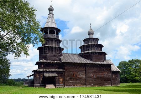 Velikiy Novgorod Russia - July 17 2016: Old wooden rural Orthodox church. Open air Museum of Wooden Architecture of the 16th-19th centuries Vitoslavlitsy in Novgorod in Russia.