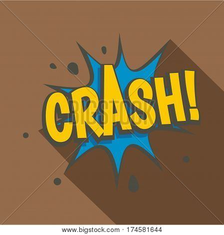 Crash, explosion speech bubble icon. Flat illustration of crash, explosion speech bubble vector icon for web isolated on brown background