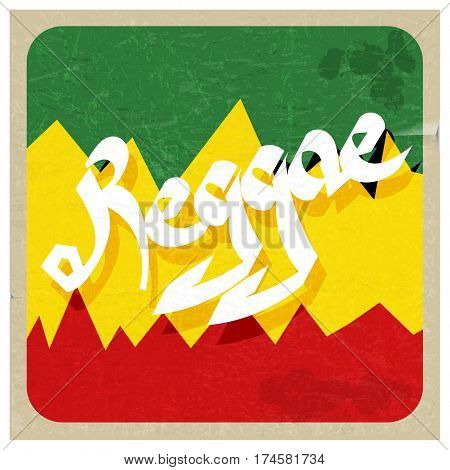 Vintage poster reggae. Rastaman color poster with the word reggae. Abstract vector illustration of a music style reggae. Stock vector