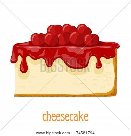 Cartoon cheesecake. Bright colored cheesecake on a white background. Isolate. Vector illustration of sweets - cheesecake with cherries. Stock vector