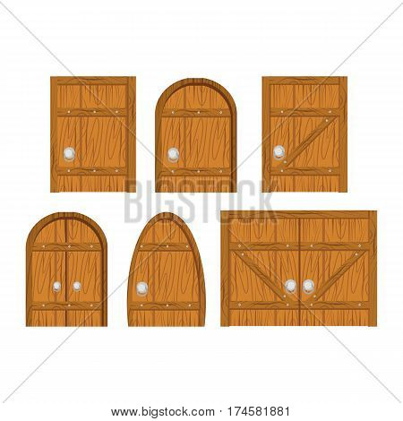 Wooden door set. Closed door, made of wooden planks, with iron hinges. Door isolated on white background