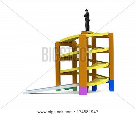 Man Thinking On Top Of Unfinished Spiral Track