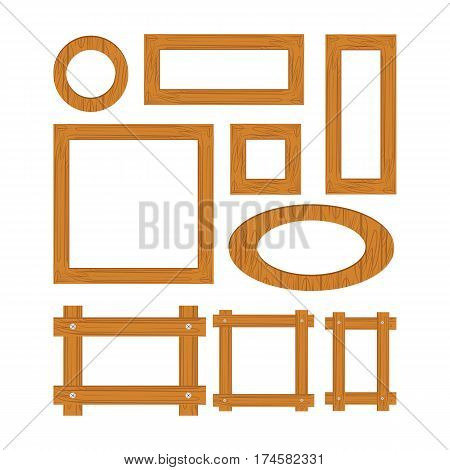 Wooden frame set cartoon. Square and round wooden frames isolated on white background