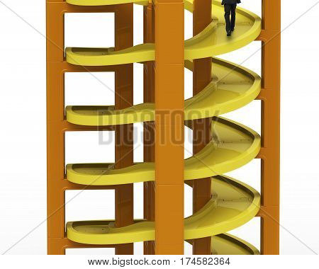 Man walking on unfinished spiral track in stacking blocks isolated on white background.
