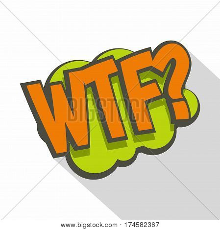 WTF, comic text sound effect icon. Flat illustration of WTF, comic text sound effect vector icon for web isolated on white background