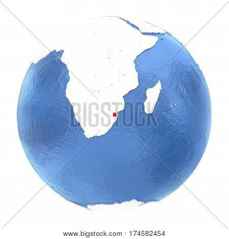 Swaziland On Globe Isolated On White