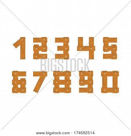 wooden numbers set isolated on white background