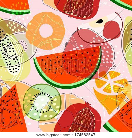 Seamless pattern with fruits: watermelon orange kiwi pomegranate melon apple. Colorful vector pattern flat style. Stock vector
