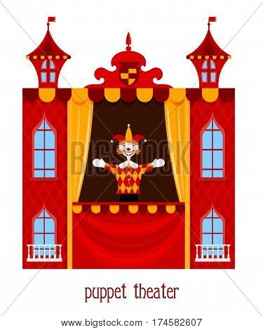 Puppet show. Illustration of children's puppet theater with a doll clown on a white background. Cartoon vector a puppet theater. Stock vector