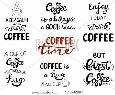 Set of calligraphic notes, VECTOR hand drawn letters, collection of lettering - tea
