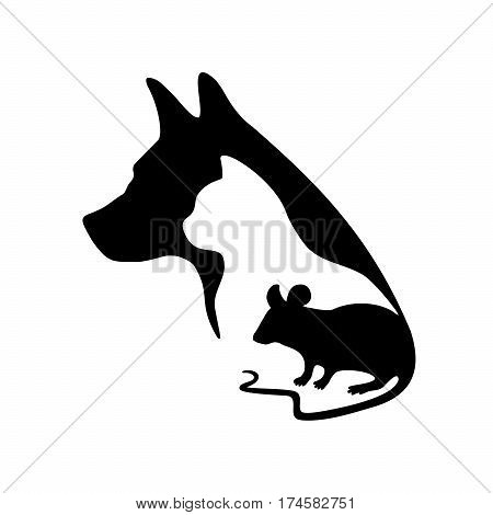 Black logo for veterinary clinic and pet shop. Vector pets silhouette on a white background. Dog cat and mouse.