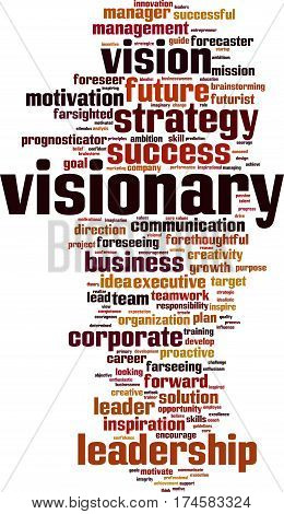 Visionary word cloud concept. Vector illustration on white