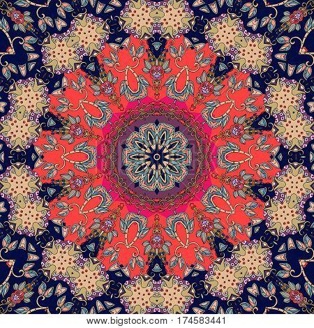 Flower - mandala. Greeting card or beautiful rug. Vector illustration.