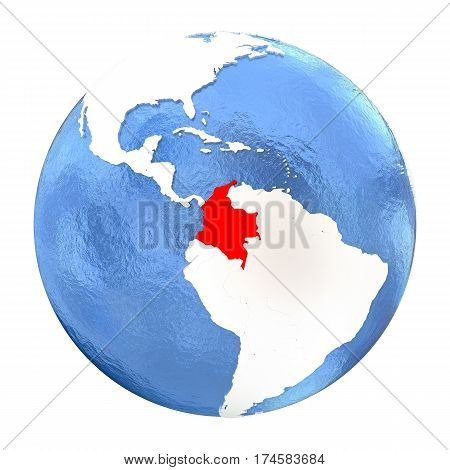 Colombia On Globe Isolated On White