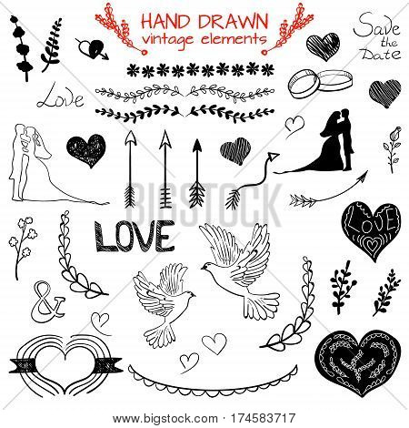 Set of VECTOR hand drawn vintage elements, black drawings isolated on white
