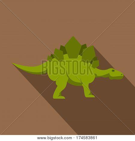 Green stegosaurus dinosaur icon. Flat illustration of green stegosaurus dinosaur vector icon for web isolated on coffee background