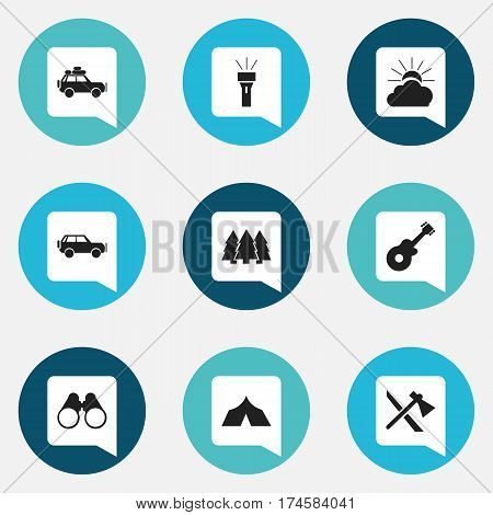 Set Of 9 Editable Trip Icons. Includes Symbols Such As Field Glasses, Musical Instrument, Lantern And More. Can Be Used For Web, Mobile, UI And Infographic Design.