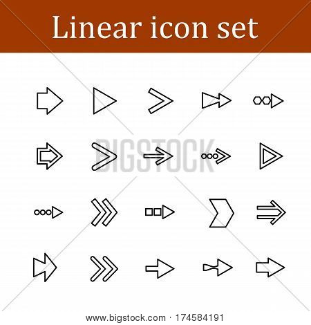 Arrows line icons. Download, upload, check or tick symbols. Refresh, fullscreen and shuffle thin outline signs. Outline line icons on white background. Vector