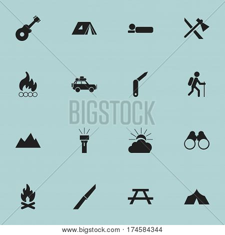 Set Of 16 Editable Travel Icons. Includes Symbols Such As Shelter, Tomahawk, Field Glasses And More. Can Be Used For Web, Mobile, UI And Infographic Design.