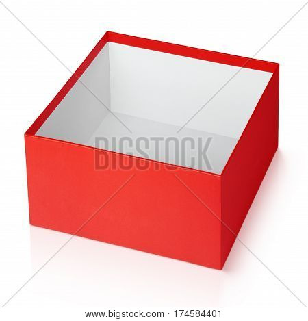 One open empty red square box isolated on white background with clipping path