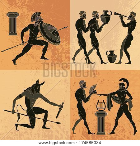 Ancient Greek mythology set. Ancient Greece scene. Black figure pottery. Classical Ancient Greek style. Minotaur gods hero
