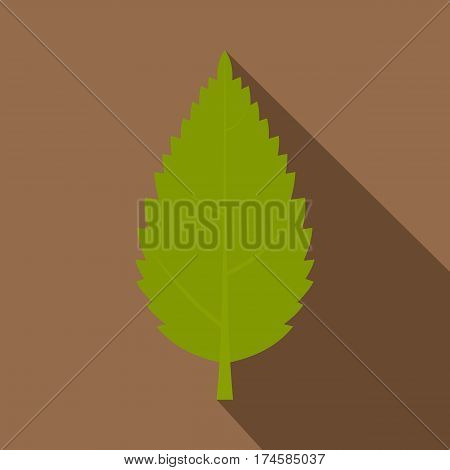 Green hornbeam leaf icon. Flat illustration of hornbeam leaf vector icon for web isolated on coffee background