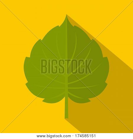 Green alder leaf icon. Flat illustration of green alder leaf vector icon for web isolated on yellow background