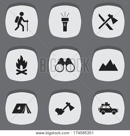Set Of 9 Editable Trip Icons. Includes Symbols Such As Field Glasses, Voyage Car, Peak And More. Can Be Used For Web, Mobile, UI And Infographic Design.