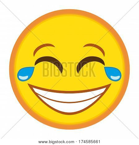 Emoticon laughing hard, Emoticon laughing with tears in eyes illustration