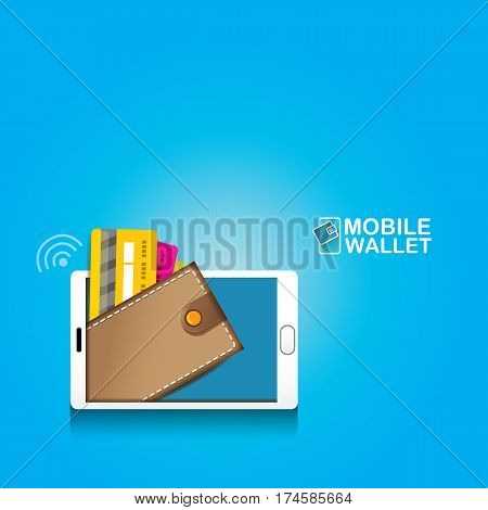 vector digital mobile wallet vector concept icon. smartphone screen with wallet on screen. Internet banking concept. wireless money transfer.