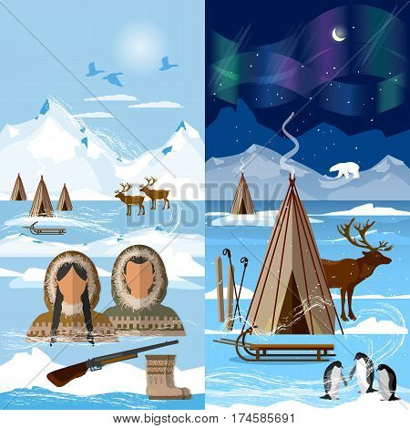 Life in the far north. Wild north arctic pople in traditional eskimos costume and arctic animals. Reindeer polar day and polar night. Extreme journey to Alaska