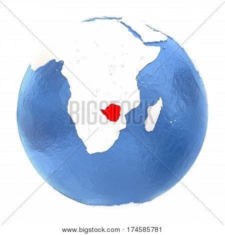 Zimbabwe On Globe Isolated On White