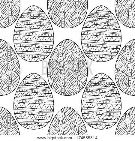 Black and white decorative linear seamless pattern of ornamental eggs for coloring page.
