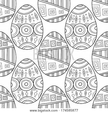 Black and white seamless pattern of decorative eggs for coloring page.