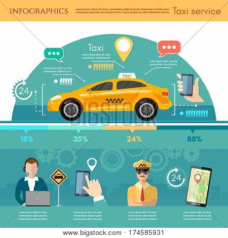 Taxi service infographic. Yellow taxi cab. Hands with smartphone and taxi application. Call book a taxi to the city template