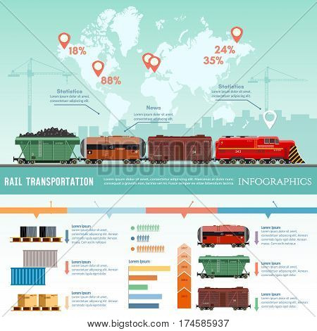 Cargo train global transport logistics. Freight trains wagonst flat design presentation. Cargo transportation by train transportation of oil gas toxic chemicals infographics