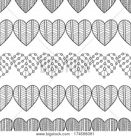 Black and white seamless pattern with decorative hearts for coloring book, page. Romantic ornament. Vector illustration