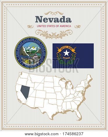 High detailed vector set with flag, coat of arms, map of Nevada. American poster. Greeting card from United States of America. Colorful design